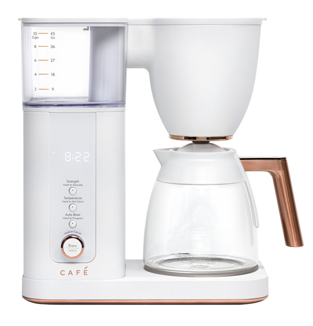 Café Specialty Drip Coffee Maker with Glass Carafe in Matte White