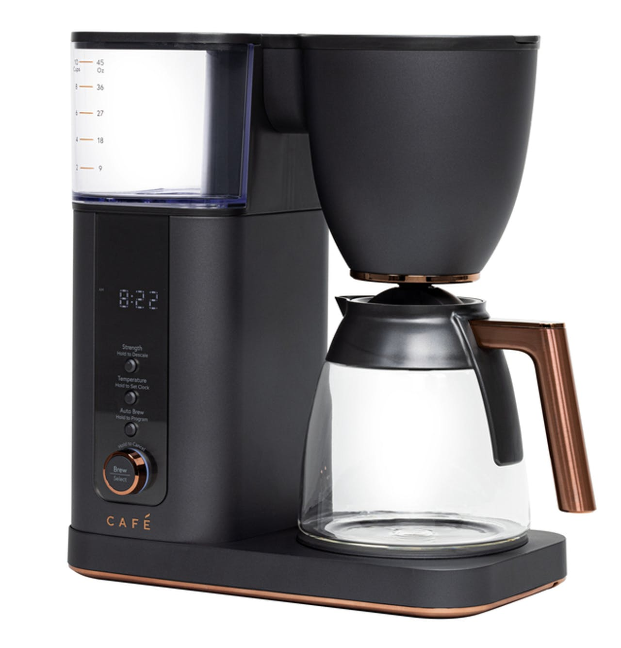 Café Specialty Drip Coffee Maker with Glass Carafe in Matte Black