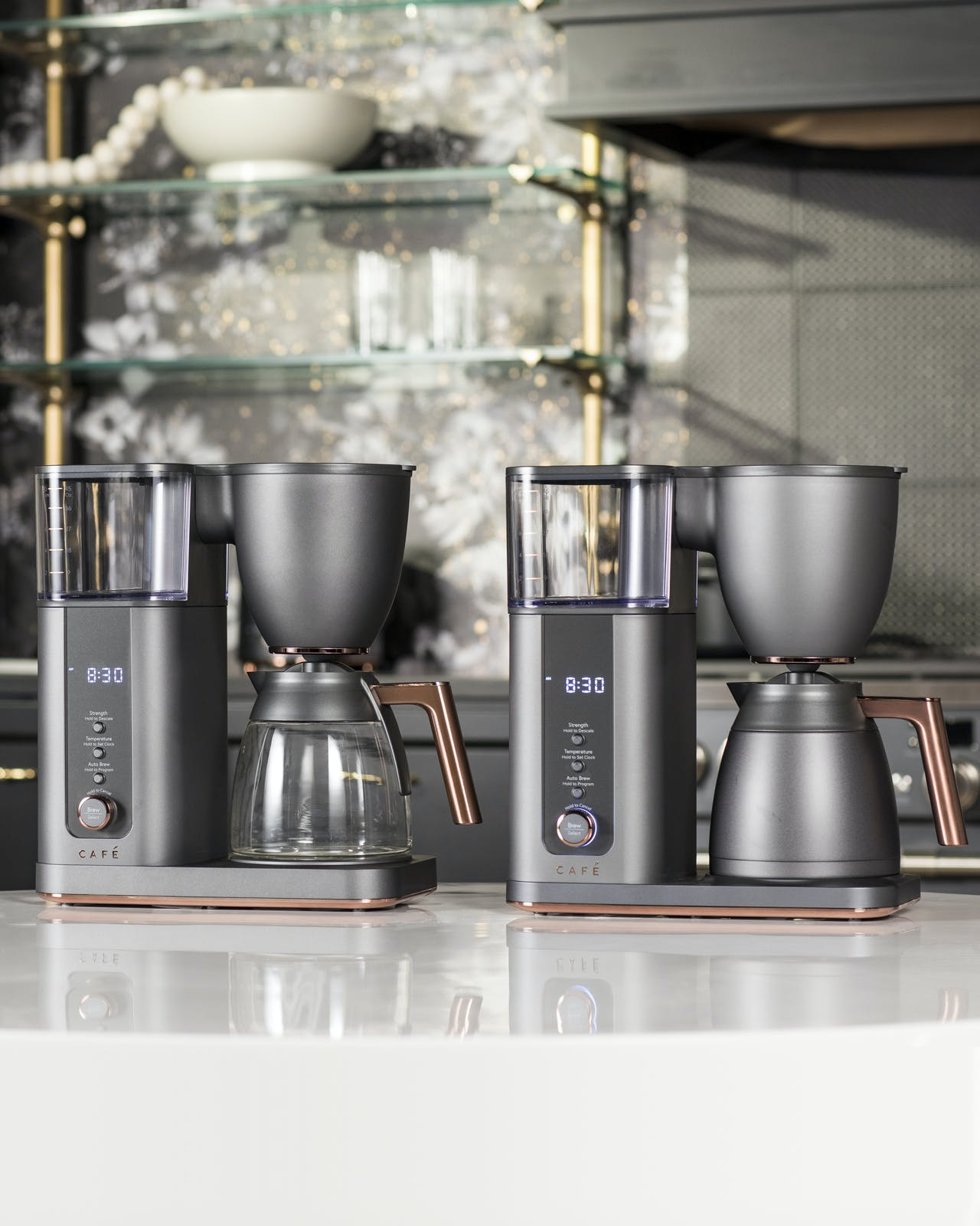 Glass Carafe and Thermal Carafe Coffee Makers on counter