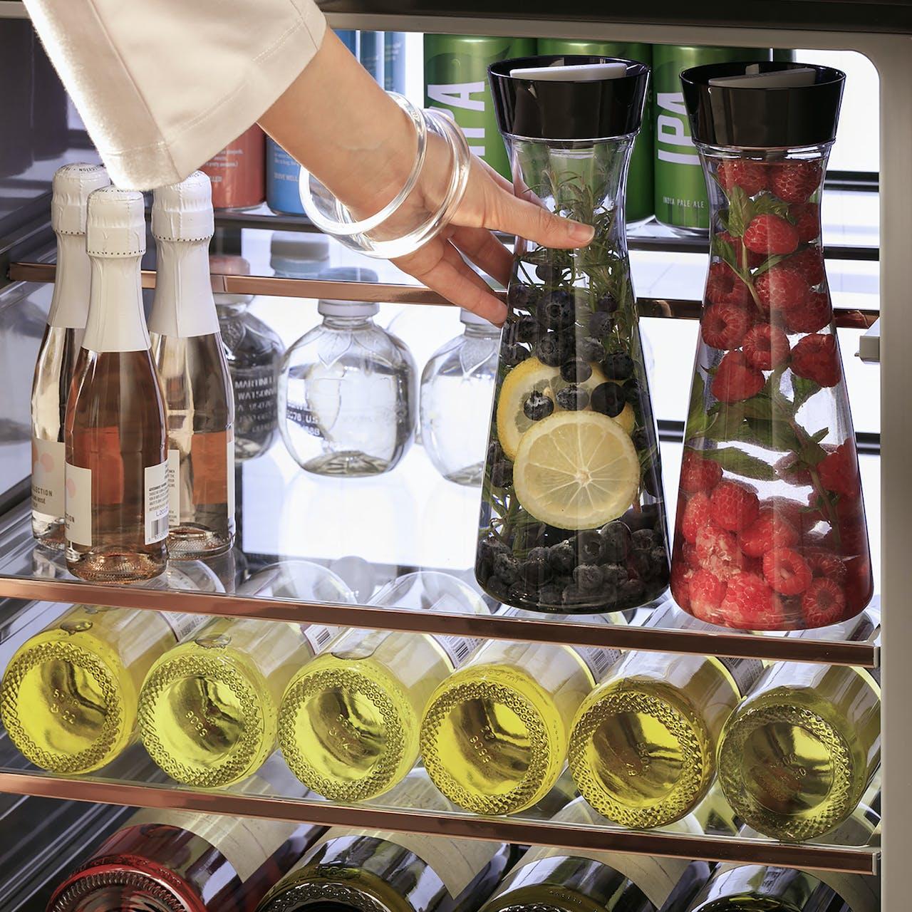 bottles in café beverage center