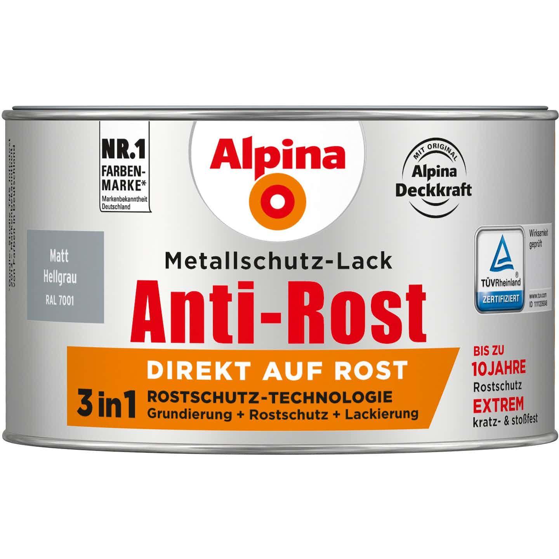 Alpina Metallschutz-Lack Anti-Rost Hellgrau matt 300 ml
