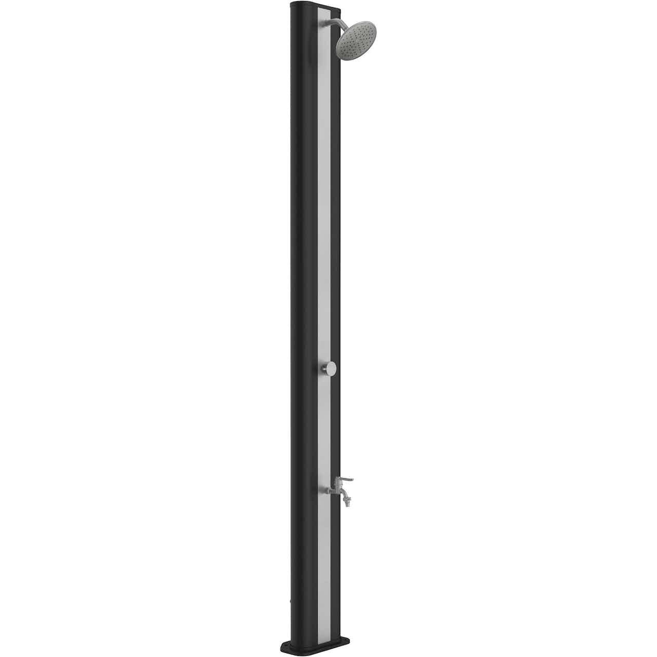 Steinbach Solardusche Top Line PVC Schwarz Chrom 26,5 x 16 x 217 cm