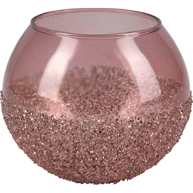 Teelichthalter Blush Bordeaux Glas 10 cm x Ø 11 cm Pink