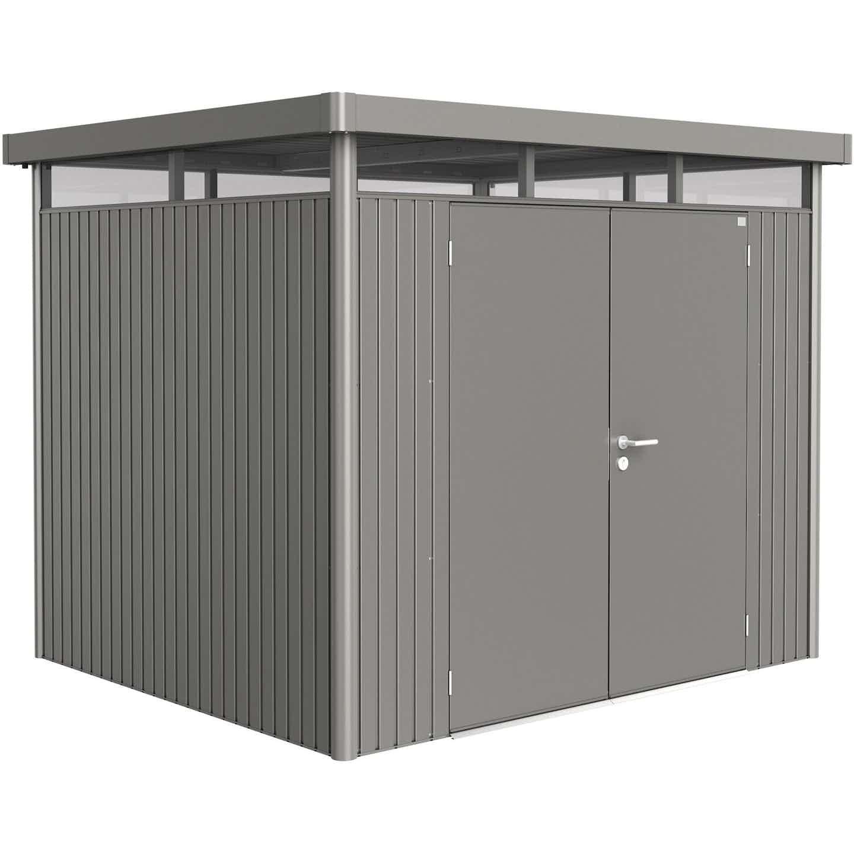 Biohort Metall-Gerätehaus HighLine H3 Quarzgrau 275 cm x 235 cm mit Doppeltür