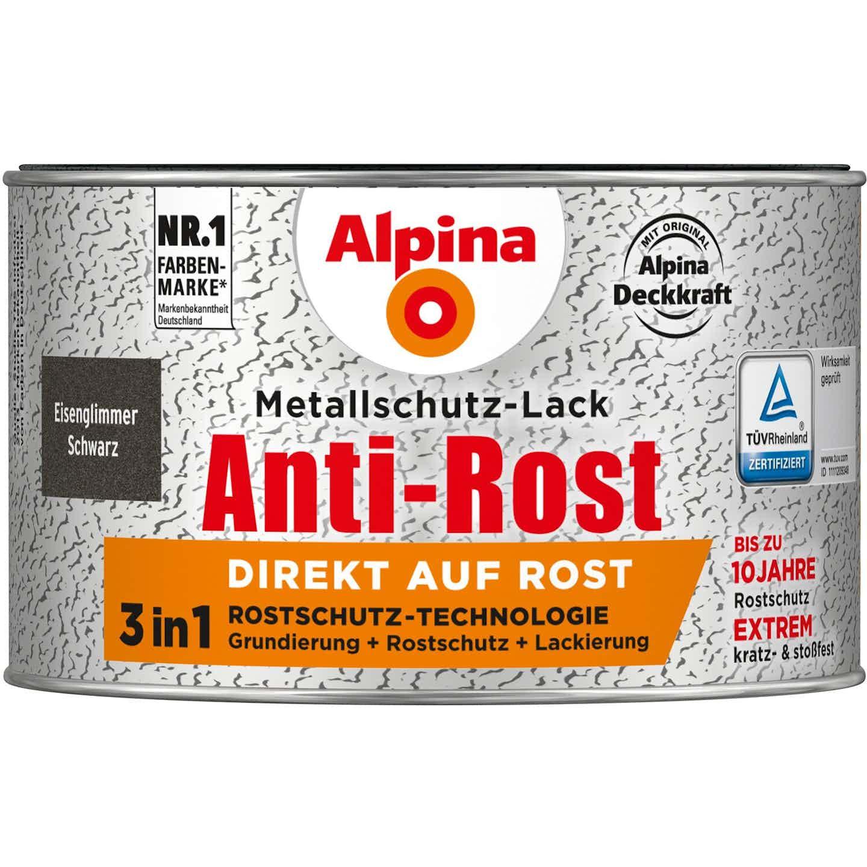 Alpina Metallschutz-Lack Anti-Rost Schwarz Eisenglimmer 300 ml