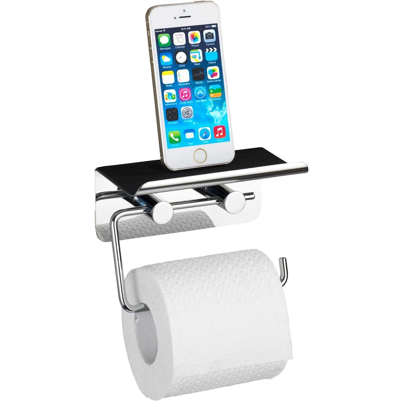 Wenko Toilettenpapierhalter mit Smartphone-Ablage Edelstahl Glänzend