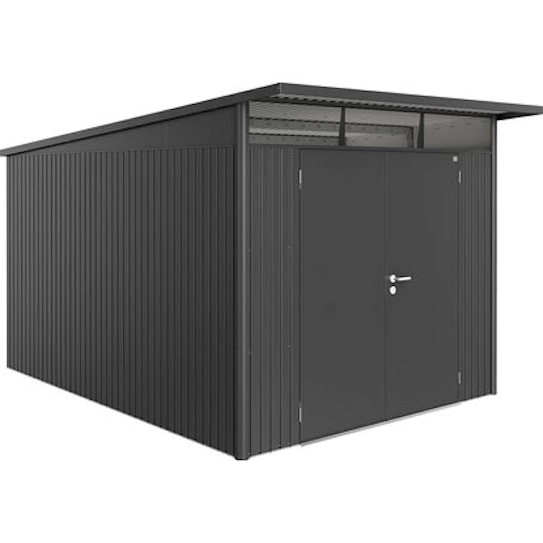 Biohort Gerätehaus AvantGarde Dunkelgrau-Metallic A8 260 x 380 cm mit Doppeltür