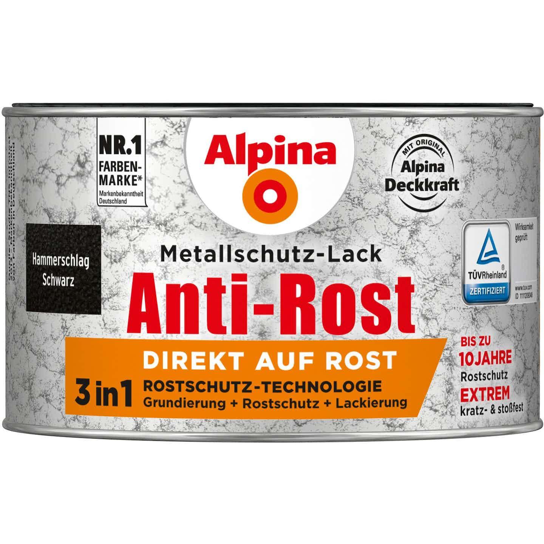 Alpina Metallschutz-Lack Anti-Rost Schwarz Hammerschlag 300 ml