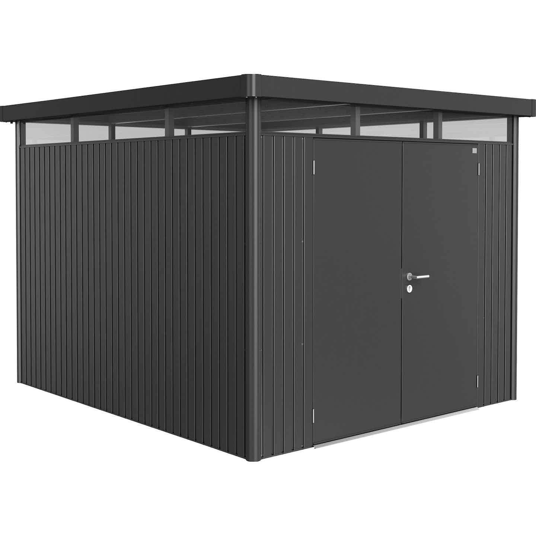 Biohort Metall-Gerätehaus HighLine H5 Dunkelgrau 275 cm x 315 cm mit Doppeltür