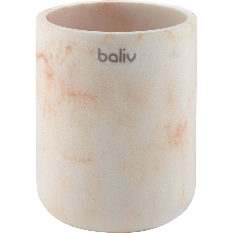 baliv Zahnputzbecher Retro Futures Marmoroptik Weiß-Goldfarben Polyresin