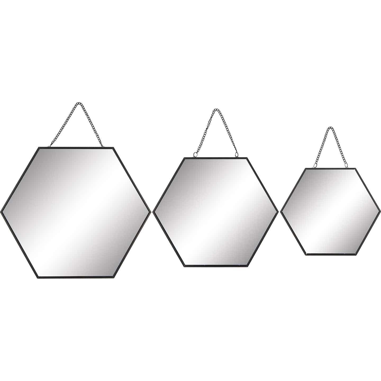 Wandspiegel-Set Minimalist Zen Metall Schwarz 3-tgl.