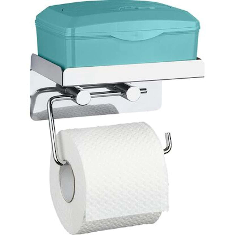 Wenko Toilettenpapierhalter Edelstahl mit großer Ablage