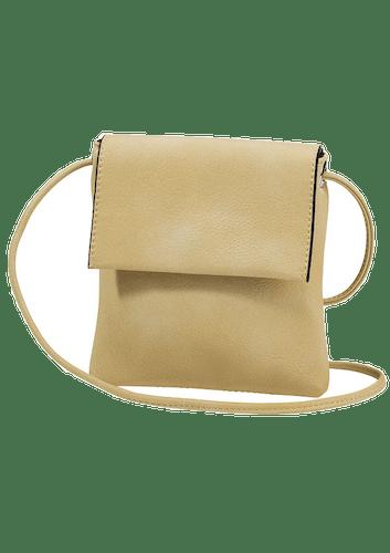 Quadratische gelbe Tasche mit langem Riemen zum Umhängen
