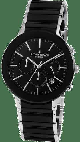 Montre JACQUES LEMANS Homme avec Boîtier Rond 42 mm et Bracelet Céramique Noire