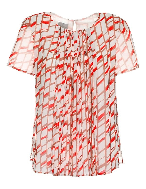 Bluse mit Print und Plissee-Falten