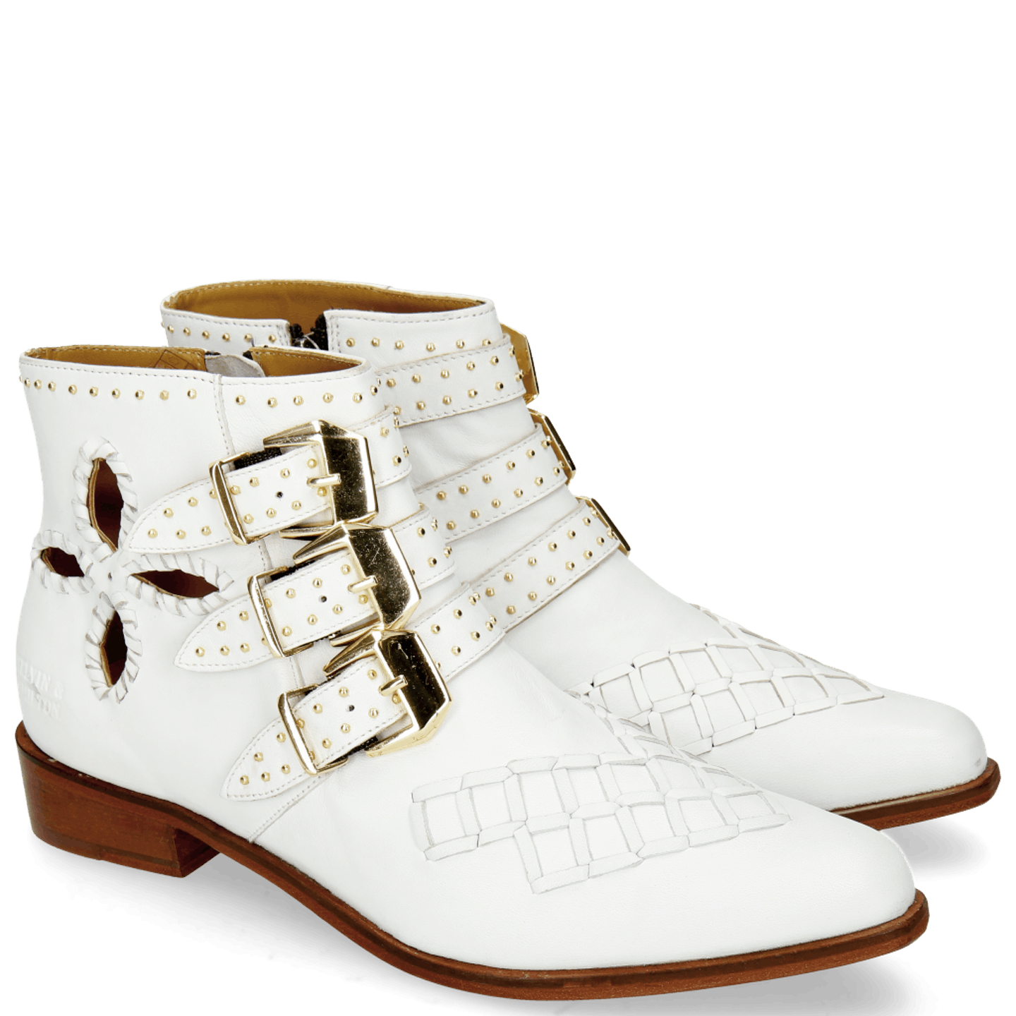 Marlin 28 Nappa White Rivets Gold