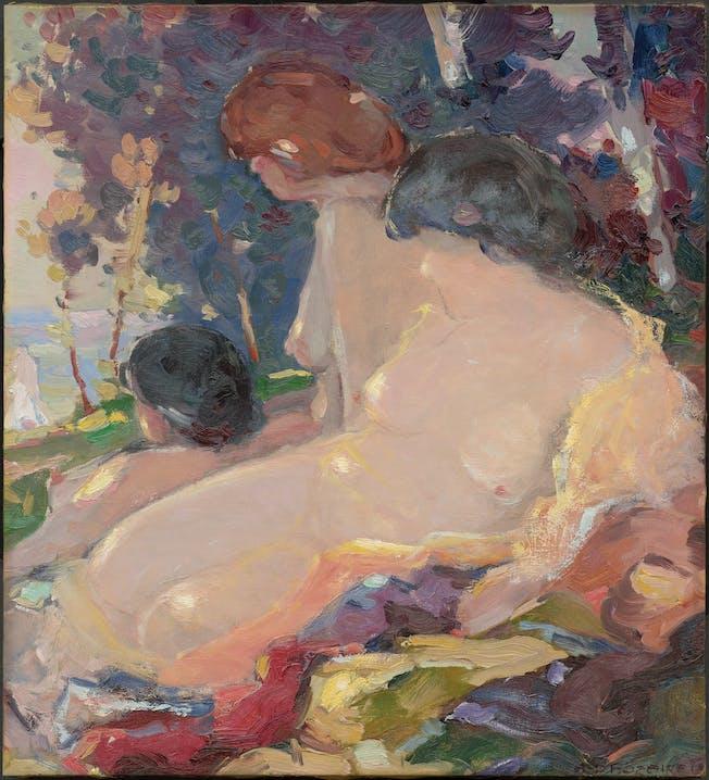 """Arthur-Dominique Rozaire """"Frauenakte am Strand"""" 1914 Öl auf Leinwand 52,5 × 48 cm Privatsammlung, Toronto"""