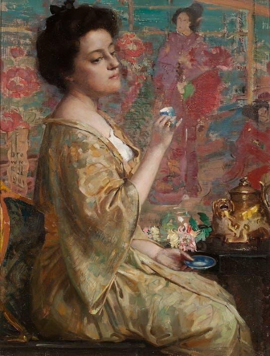 """Franklin Brownell """"Die Teestunde"""" 1901 Öl auf Leinwand auf Holz gelegt 39,05 × 28,89 cm Privatsammlung Foto: Frank Tancredi"""