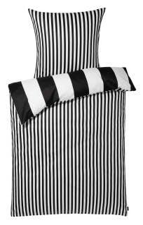 """Bettwäsche-Garnitur """"Stripe"""" in der Farbe Schwarz"""