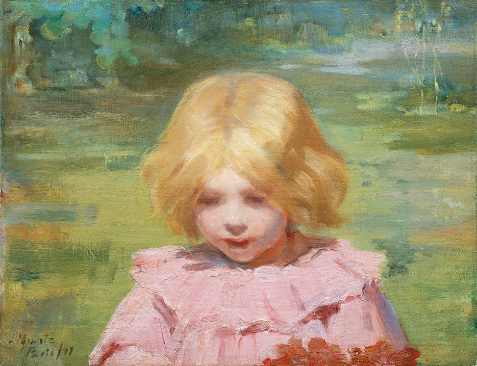 "Laura Muntz ""Das rosa Kleid"" 1897 Öl auf Leinwand 34 × 45 cm Privatsammlung, Toronto Foto: Thomas Moore"
