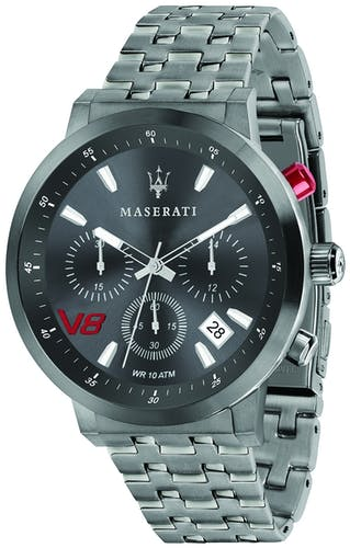 Cette montre MASERATI se compose d'un boîtier Rond de 44 mm et d'un bracelet en Acier Gris