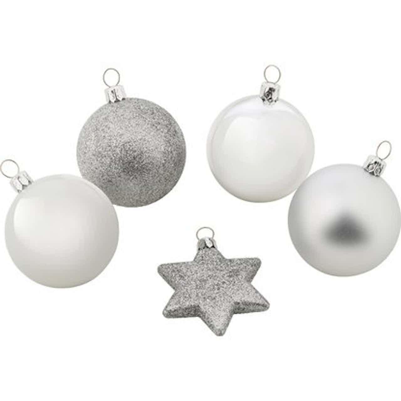 Sada vánočních koulí stříbrná, 50 ks