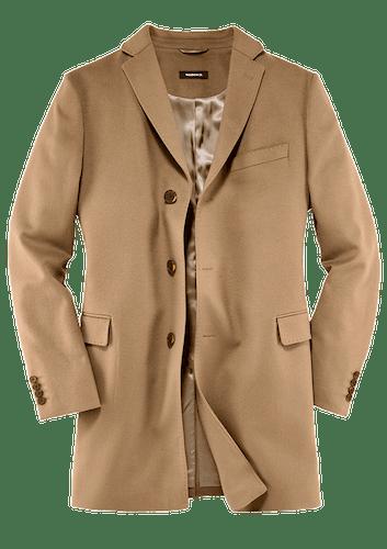 Mantel mit drei Knöpfen in einem beigen Farbton.