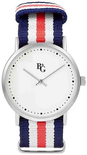 Cette montre B&G se compose d'un Boîtier Rond de 19.7 mm x 40 mm et d'un bracelet en Tissu Multicouleur