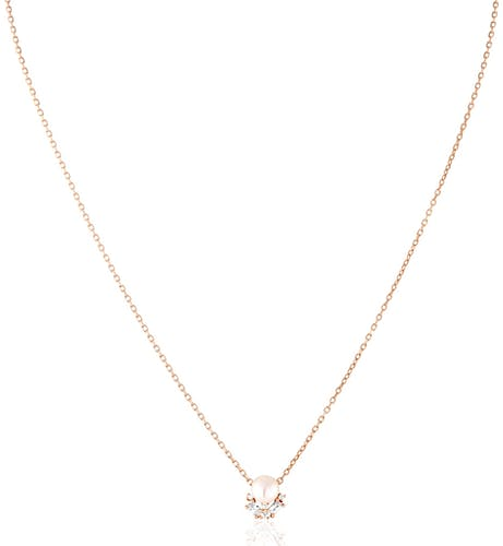 Ce Collier CLEOR est en Argent 925/1000 Rose, Perle Blanche et Oxyde