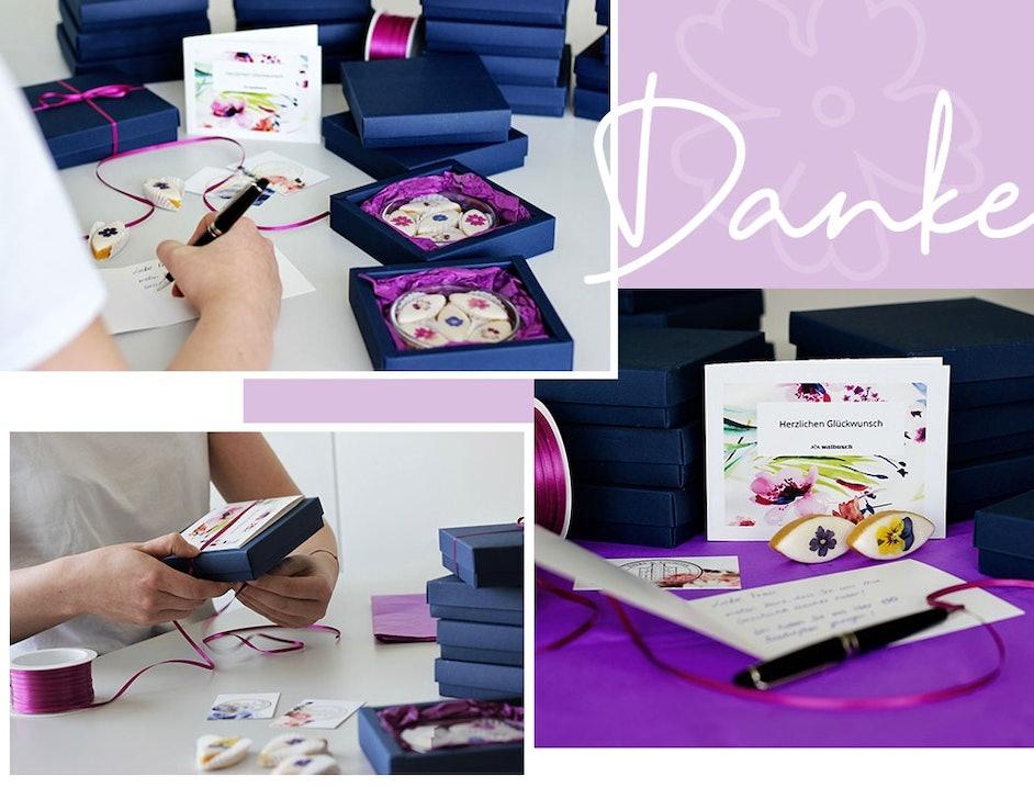 Collage mit mehreren Bilder in lila Farbtönen.