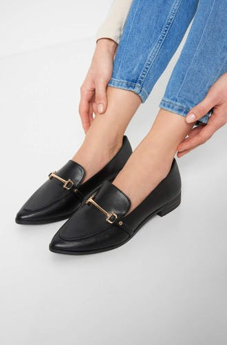 SH, LOAFY, LOAFER, METAL DETAIL, CLEAN PU