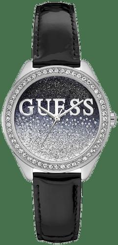 Montre GUESS Femme Boîtier Carré Bracelet Cuir Noir