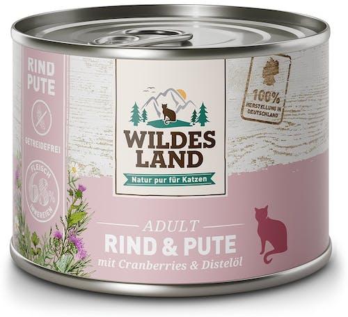 Wildes Land Classic Adult Rind und Pute mit Distelöl Nassfutter 6 x 200 g
