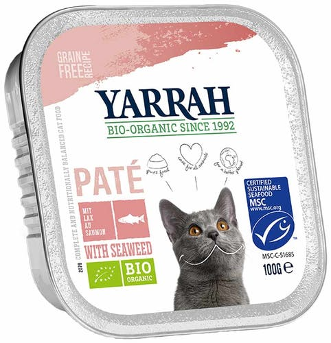 Yarrah Paté mit Lachs & Meeresalge Nassfutter 8 x 100 g