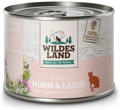 Wildes Land Classic Adult Huhn und Lachs mit Distelöl Nassfutter 6 x 200 g