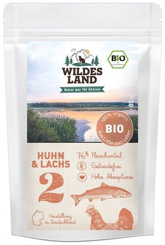 Wildes Land BIO Adult Huhn und Lachs Nassfutter 12 x 85 g