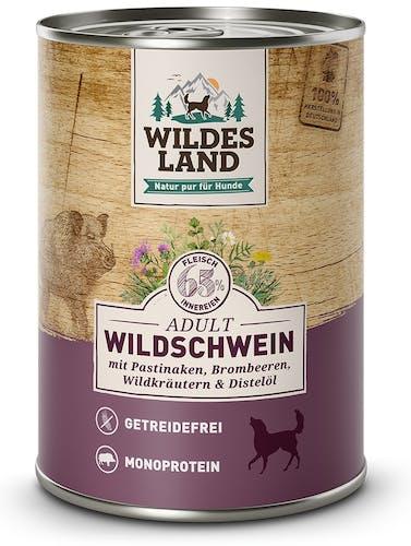 Wildes Land Classic Adult Wildschwein mit Pastinake, Brombeeren, Wildkräutern und Distelöl Nassfutter 400 g