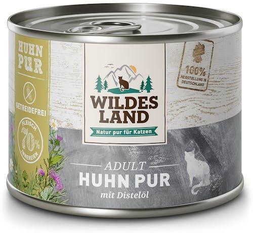 Wildes Land PUR Adult Huhn mit Distelöl Nassfutter 6 x 200 g