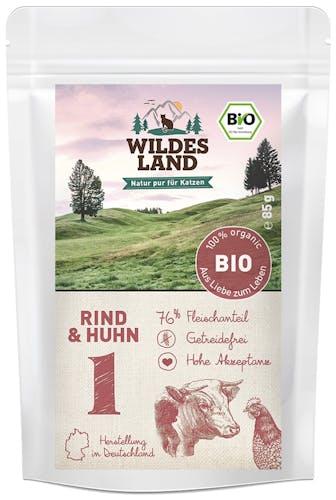 Wildes Land BIO Adult Rind und Huhn Nassfutter 12 x 85 g