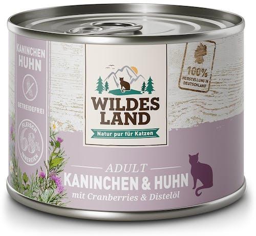 Wildes Land Classic Adult Kaninchen und Huhn mit Distelöl Nassfutter 6 x 200 g