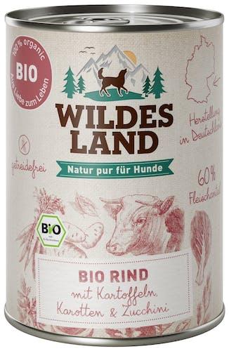 Wildes Land BIO Adult Rind mit Kartoffeln Nassfutter 6 x 400 g