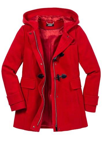 Roter Mantel mit Kapuze, Knöpfen und Reißverschluss sowie 2 Taschen.