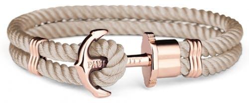 Ce Bracelet PAUL HEWITT en Tissu Beige et Acier rose