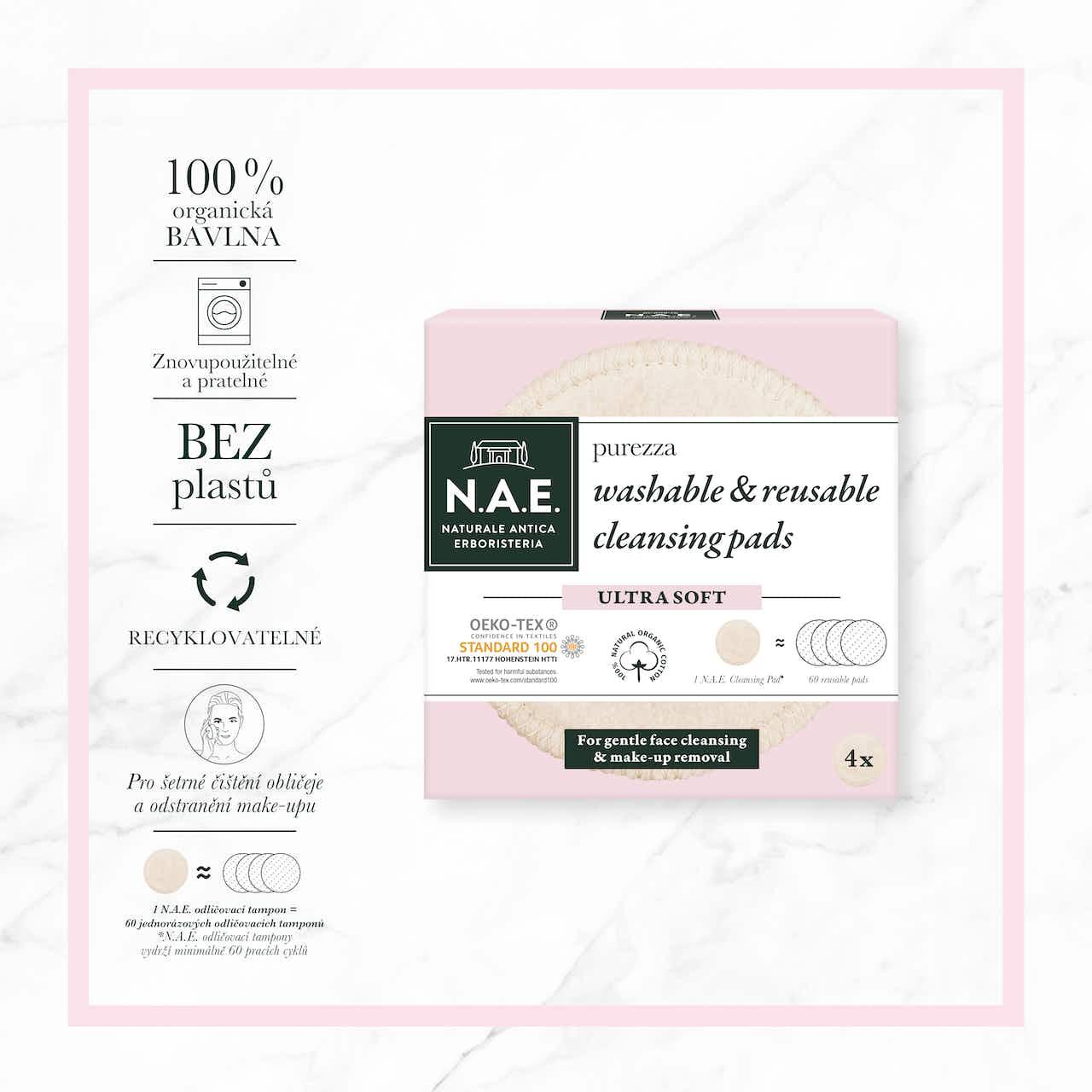 Purezza pratelné a znovupoužitelné odličovací tampony