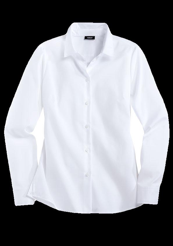 Weiße Hemdbluse mit weißen Knöpfen.