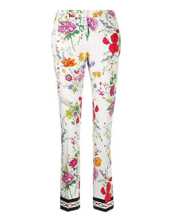 Hose mit Bügelfalte und farbstarkem Blumen-Muster