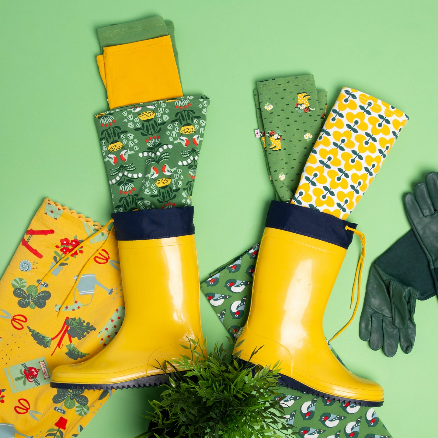 Prints with wellies, flowers and birs