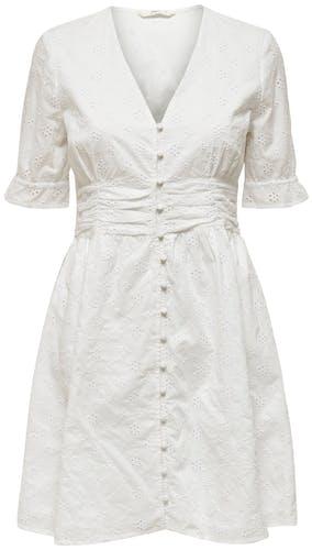weißes Kleid mit kurzen Ärmeln und mittiger Knopfleiste