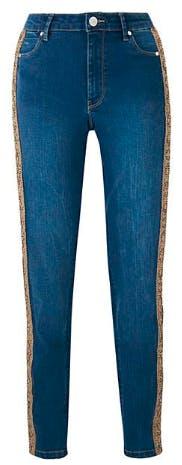 Mid Blue Snake Side Sadie Slim Leg Jeans