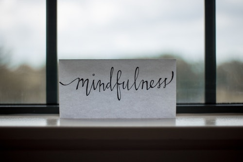 Mindfulness picture on a window ledge
